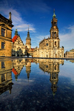 Dresden Hofkirche - Reflection in a pond