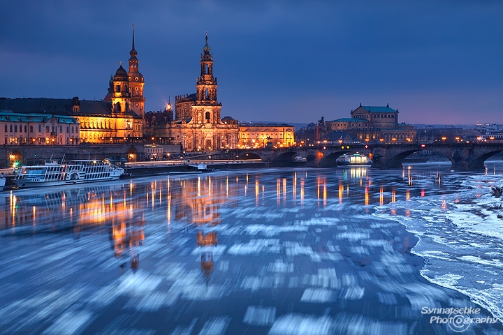 Cityscape with Drifting Ice on the Elbe