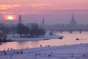 Dresden Sunset Winter Elbe