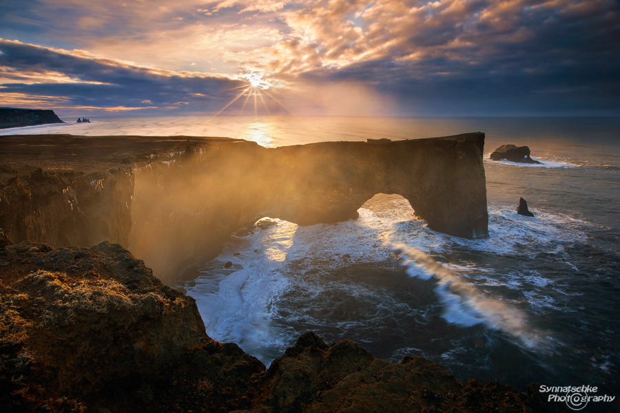Sunrise at Dyrholaey promontory in Southern Iceland