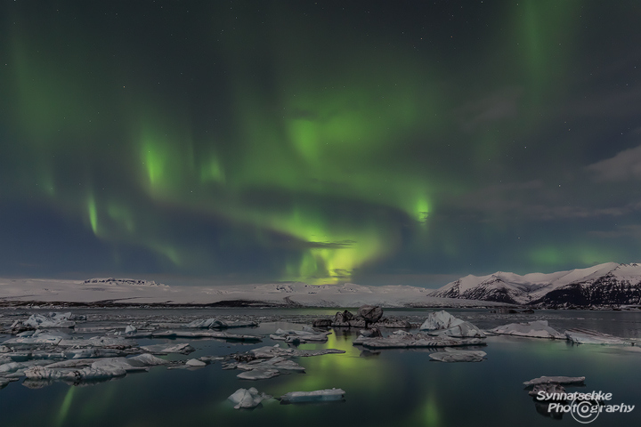 Aurora Swirls over Joekulsarlon