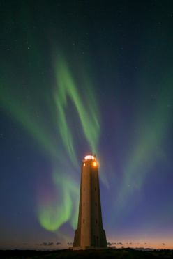 Aurora display at the Snaefellsnes lighthouse