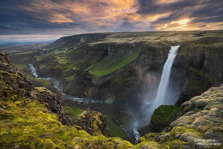 Haifoss at Sunset