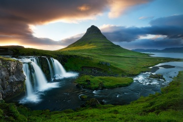 Kirkjufell and waterfall at sunset