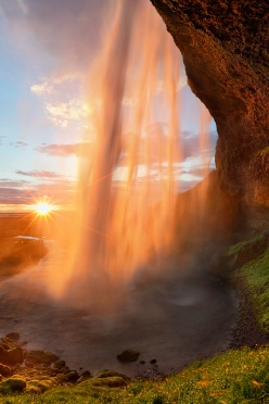 Golden Sunset at Seljalandsfoss