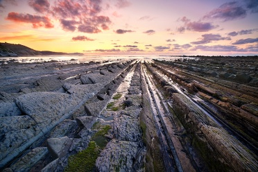 Sunset at the Coastal Flysch in Basque Country