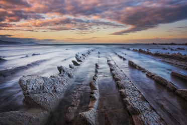 Flysch rocks at sunset
