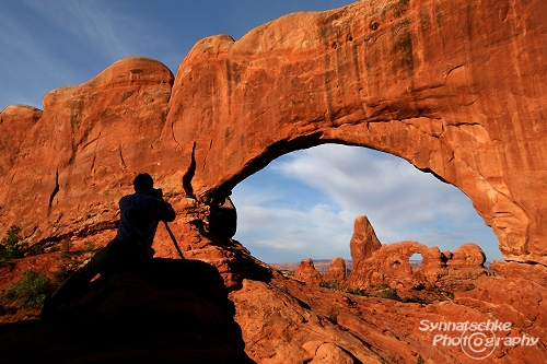 Turret Arch through North Window Arch at Sunrise. Arches National ...