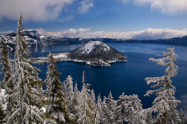 Wizard Island and Crater Lake in Winter
