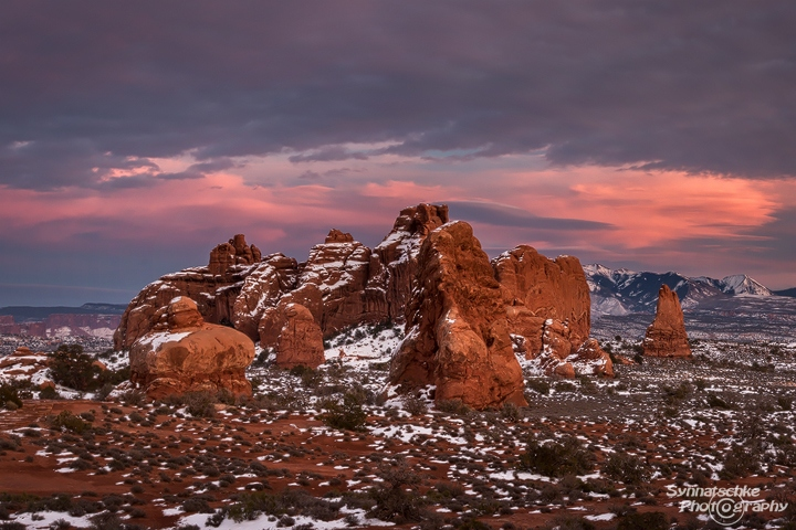Winter Sunset in Arches NP