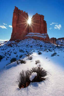 Courthouse Tower in Winter - Arches National Park