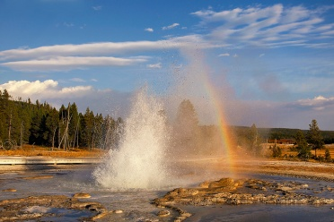 Sawmill Geysir With Rainbow