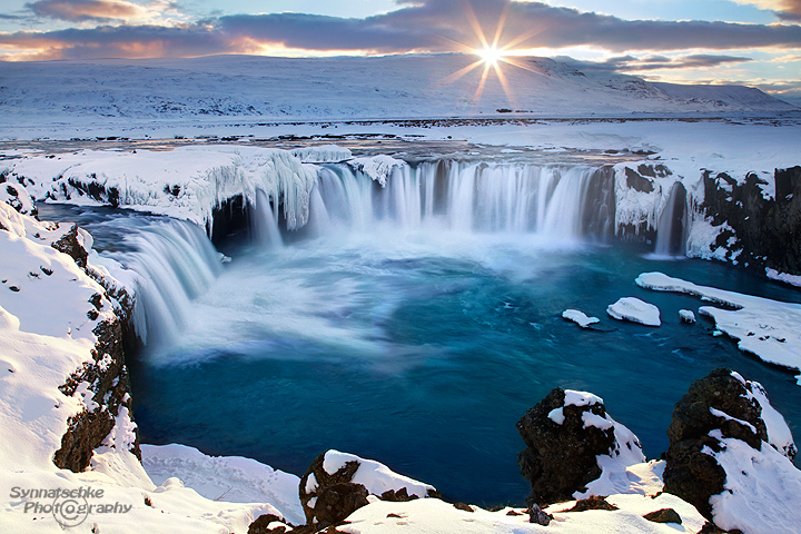 Godafoss in Iceland at sunset