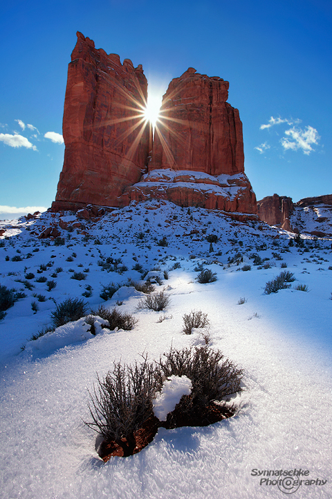 Courthouse Tower in Winter at Arches National Park