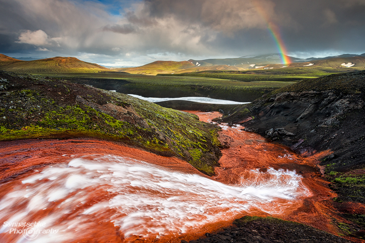 Red Waterfall at Fjallabak Nature Reserve, Iceland