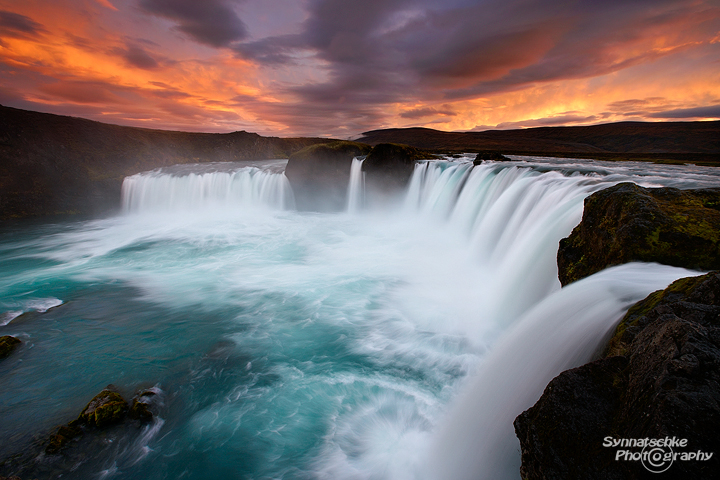 Sunset at Godafoss in Iceland