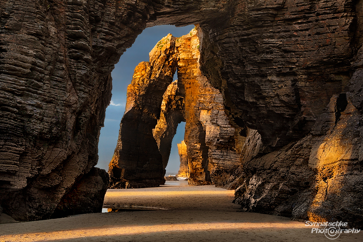 Arches at Playa de las Catedrales in Galicia, Northern Spain