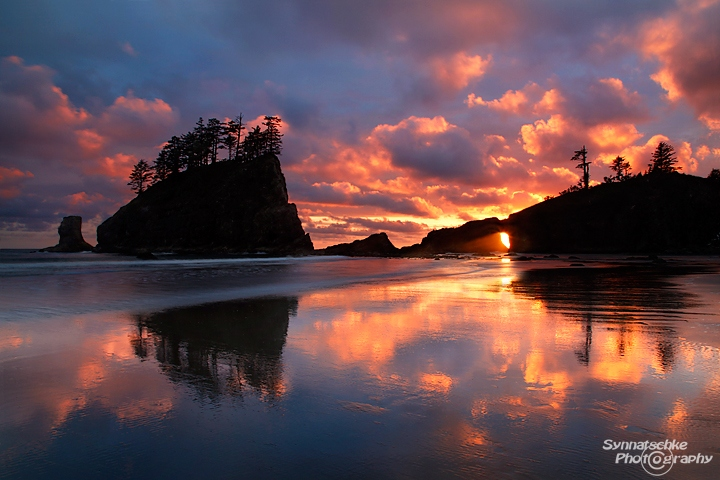 Sunset at Second Beach at the Olympic Coast