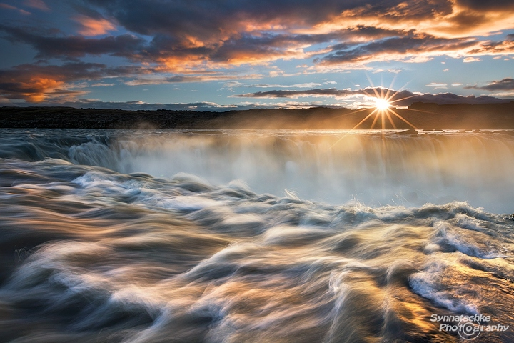 Sunset at Selfoss in Northern Iceland